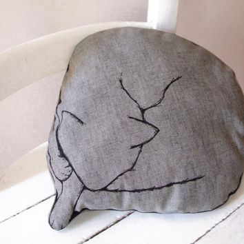 CAT pillow sleeping cat hand painted grey cotton home decor gift idea