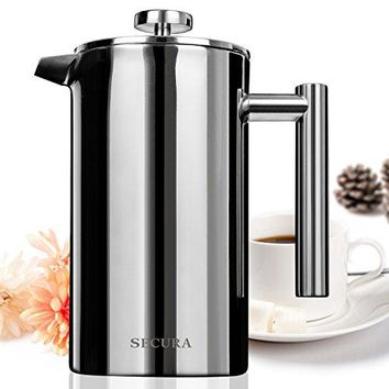 Stainless Steel French Press Coffee Maker 18/10 Bonus Stainless Steel Screen (1000ML)
