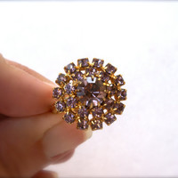 Round Light Purple Rhinestone Cocktail Ring Adjustable