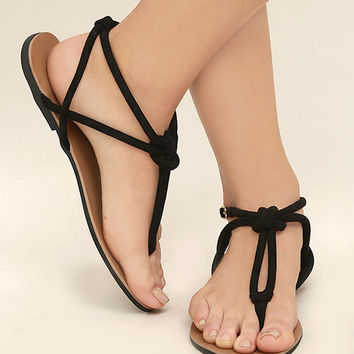 Sybil Black Suede Flat Sandals