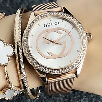 GUCCI Classic Stylish Woman Men Chic Diamond Casual Quartz Movement Watch Wristwatch