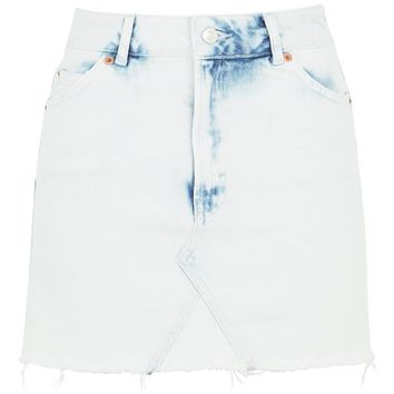 MOTO Extreme Bleach Denim Skirt - Denim - Clothing