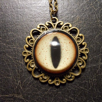HUGE Glass Taxidermy Alligator Eye Necklace