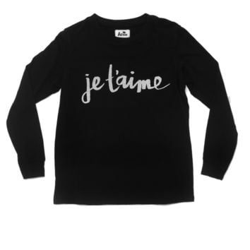 Kira Kids Black Je'Taime Long Sleeve Tee