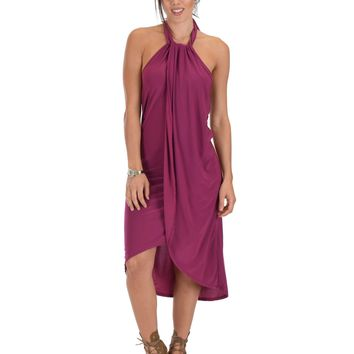 Lyss Loo Wrap Star Halter Berry Midi Wrap Dress