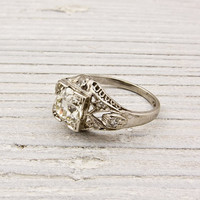 Vintage 1 Carat Art Deco Diamond Engagement Ring