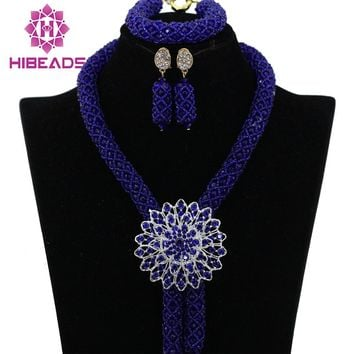 Royal Blue Crystal  Statement Necklaces African Jewelry Sets
