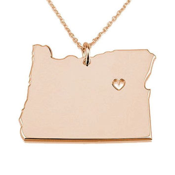State of Oregon Necklace,Oregon State Shaped Necklace ,OR State Love Necklace With A Heart ,Personalized Oregon State Necklace