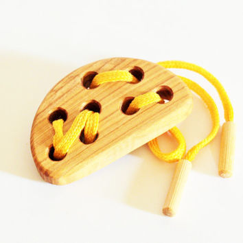Wooden Lacing Toy Cheese Fine Motor Skills Montessori Learning toy Educational Wooden Toys Handmade Wood Toys for Kids Birthday gift Eco