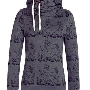 Deer Printed Long Sleeve Hooded Jacket