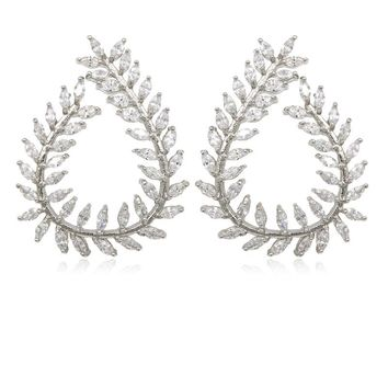 Marquise Cut Clear Cubic Zirconia Leaf Design CZ Zircon Stud Earrings for Women in White Gold Color