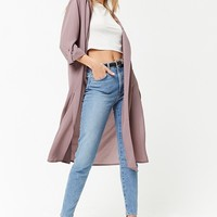 Crepe Open-Front Duster Jacket