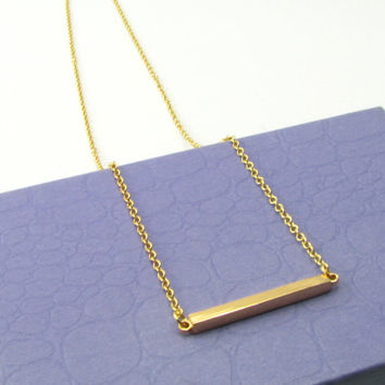 Dainty Horizontal Bar Necklace/ Bar Necklace/ Simple Everyday Necklace /14 Gold Necklaces