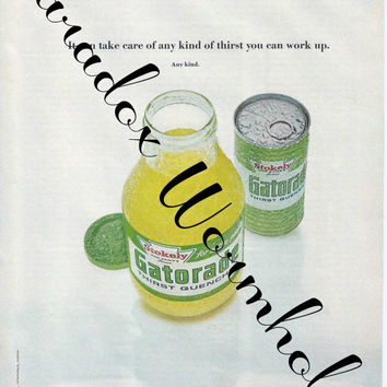 Vintage 1971 Gatorade The Professional Thirst Quencher Print ad Advertising Wall Art Decor