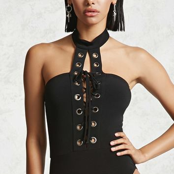 Mock Neck Lace-Up Bodysuit