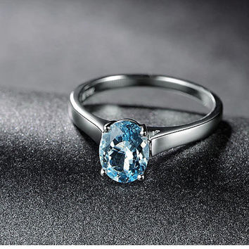 1.20ctw Oval Aquamarine Engagement ring,Solitaire wedding band,14K Gold,Gemstone Promise Ring,Bridal Ring,IF Blue Aquamarine,Fashion Prong