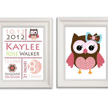 "Nursery Art Prints - ""Pink Owl Birth Details Print"" set of 2 