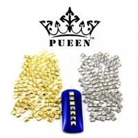 PUEEN 3D Nail Art 300 Pieces Gold & Silver 3mm Square Pyramid Metal Studs for Cellphones & Nails Decorations-BH000038