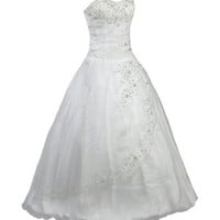 Faironly White Strapless Formal Wedding Dress Prom Gown