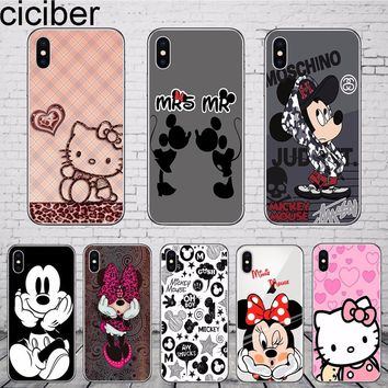 ciciber Cute Mickey Mouse Minnie Hello kitty Phone Case Cover For iphone 7 X 7plus 6 6S 8 8plus 5 5S SE Soft Silicone TPU Coque