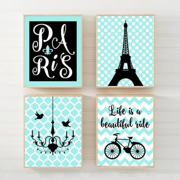 PARIS Wall Art Canvas or Prints Eiffel Tower Decor, Aqua Black, Paris Nursery Wall Art, Girl Bedroom Pictures, Set of 4 Chandelier Bicycle