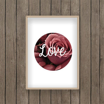Love Print PDF digital download explorer roses flowers floral valentines hearts pink gift present Photo a4
