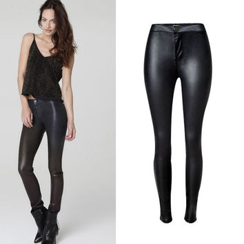 Black High Waist Leather Pants