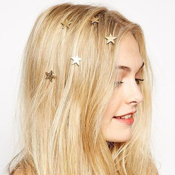 Gold Stars Coil Spring Hair Pins