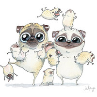 Pug Family Portrait Art Print - Funny Pugs and Pug Puppies watercolor illustration, Pug line drawing, Pug dog art, Family art by InkPug!