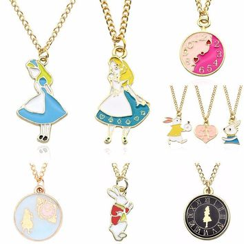 DIY Lovely Girl Trendy Pendant Alice In Wonderland Clock Gold Chain Pendants&Necklaces Charms Choker Necklaces Gift DropShipping