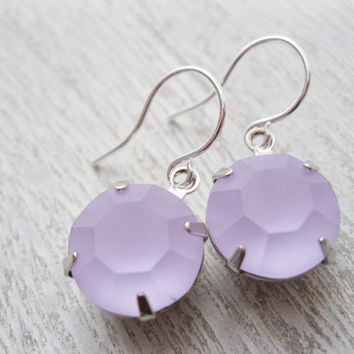 Violet Drop Earrings, Lilac bridesmaid earrings, Vintage rhinestones, Purple wedding, Light purple bridesmaid jewellery, Spring wedding.