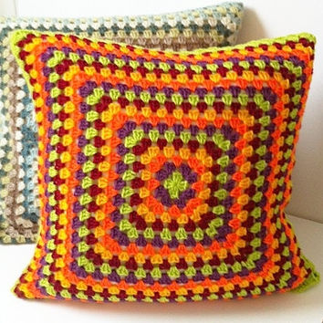 Crochet Cushion Cover, Granny Square Cushion, Bright Cushion Cover, Colourful, Vibrant, Pillow Cover