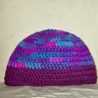 Women's Skull Cap Shades Of Purple & Blue Crochet