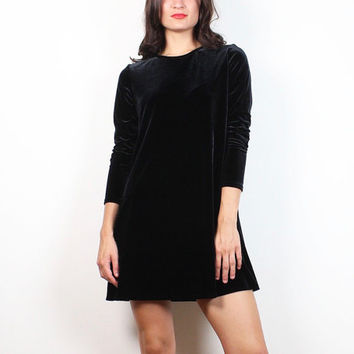 Vintage 90s Dress Long Sleeve Black Velvet Dress Soft Goth Mini Dress 1990s Stretch Babydoll Dress Soft Grunge Tshirt Dress S M Medium L