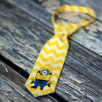 Little Guy Tie - Despicable Me Minion in Yellow Chevron - Infant through 8 years - Pre-Tied with Adjustable Velcro Closure