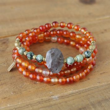 Carnelian and African Turquoise Mala Necklace or Bracelet
