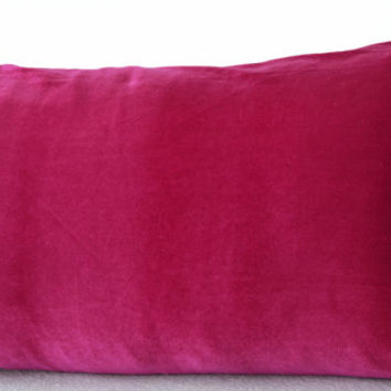 Hot Pink lush velvet and oatmeal linen - Pink velvet pillows -12x20 Decorative couch pillows -Gift -Pink Bedding -Sofa pillow- Lumbar Pillow