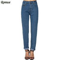 ROMWE Brand New Arrival Vogue Women's Streetwear Loose Denim Pants Pockets Long Women High Waist Blue Jeans