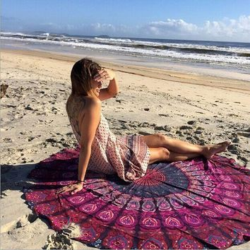 1 PC Summer Boho Women Indian Round Mandala Tapestry Wall Hanging Throw Towel Yoga Beach Mat Vintage Decorataion VBU80 P30