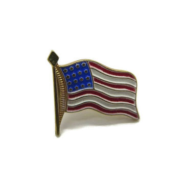 USA Flag Pin, Vintage Patriotic Tie Tac, Stars and Stripes Pin, July 4th Flag Pin, Independence Day Pin