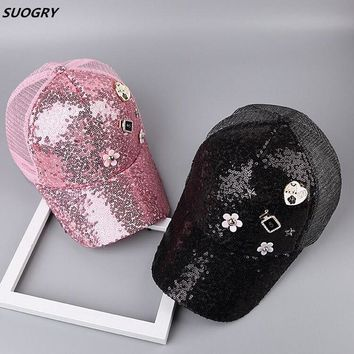 Trendy Winter Jacket Baseball Cap Women Summer Snapback Hats For Women Lady Mesh Cap Sequined Sun Hat Female Gorras Casquette Dad Hat Adjustable AT_92_12