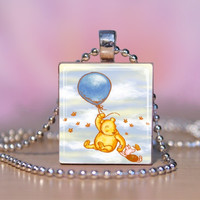 Classic Winnie the Pooh & Piglet w/ a Balloon Scrabble Tile Necklace