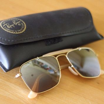 Ray-Ban Original Sunglasses (W1348) Gold - Caravan - Bausch & Lomb - with Case