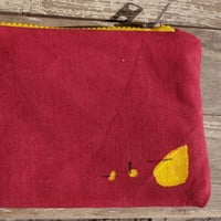Red Yellow Hand Painted  Clutch Bag, Red Canvas Pencil Case, OOAK, Unique Purse