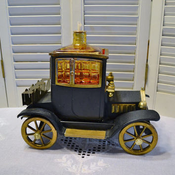 Ford Model T Decanter Shot Glass Caddy Music Box Amber Glass Kitsch Bar Decor Car Old Fashioned  Automobile Collectible PanchosPorch