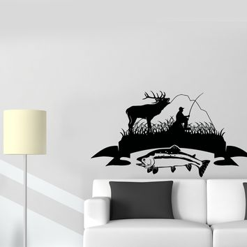 Wall Decal Nature Deer Fishing Fisherman Mountains Vinyl Sticker (ed913)