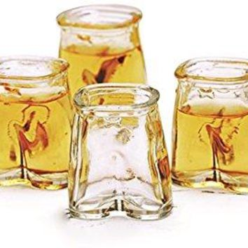 Glass Shot Glasses Set Fun Clear Pants Shaped Glasses Set of 6 15 Ounce Each By Circleware Glassware Drinkware Barware Whiskey Scotch Drinking Glassescups