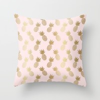 Pink & Gold Pineapples Throw Pillow by Tanyadraws