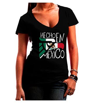 Hecho en Mexico Design - Mexican Flag Juniors V-Neck Dark T-Shirt by TooLoud