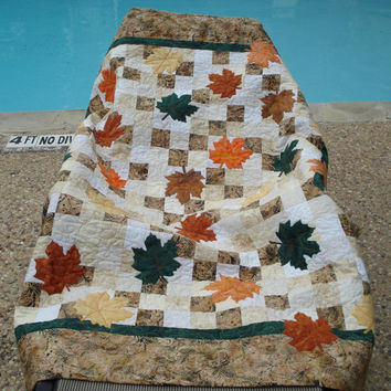 Autumn Leaves Handmade Batik Quilt